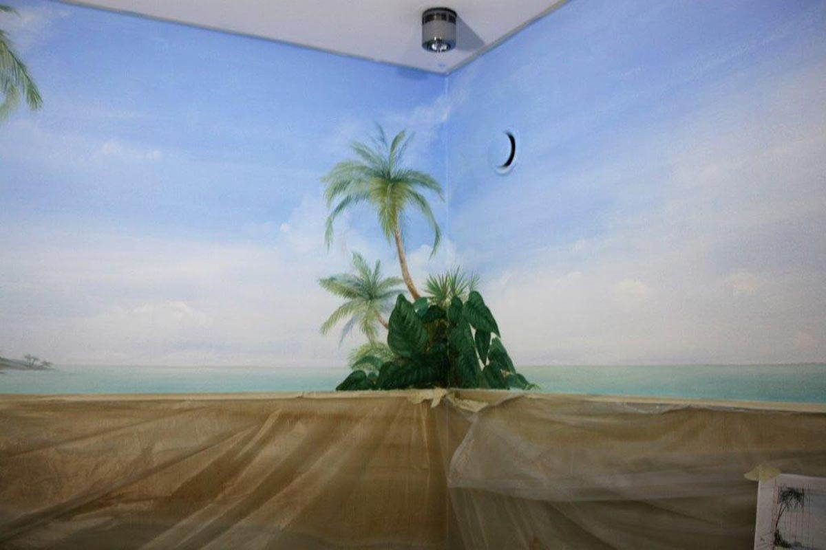 Badezimmer mit karibischem Strand