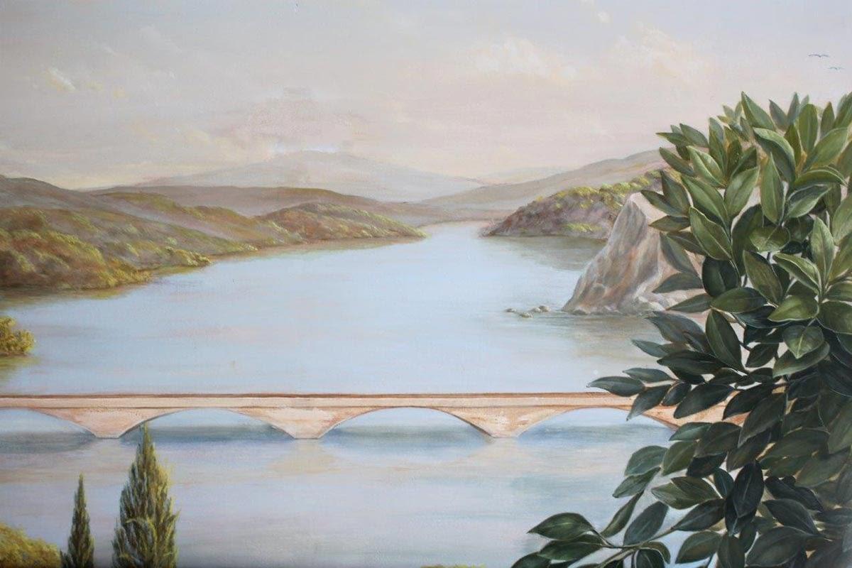Wandmalerei im Wintergarten: Italienische Flußlandschaft